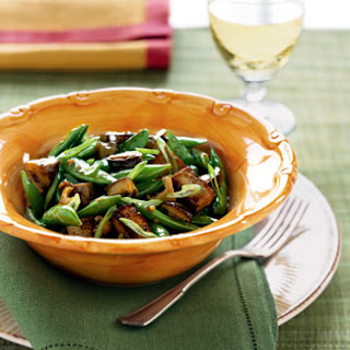 Stir-Fried Tofu with Mushrooms, Sugar Snap Peas, and Green Onions.