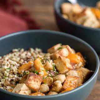 Tofu Chickpea Stir Fry with Tahini Sauce.