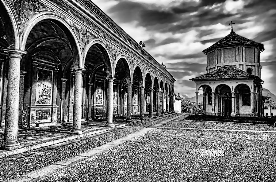 The Sacred Place by Stefano Landenna - Black & White Buildings & Architecture ( church, baptistery, dante, colonnade, baveno, maggiore lake )