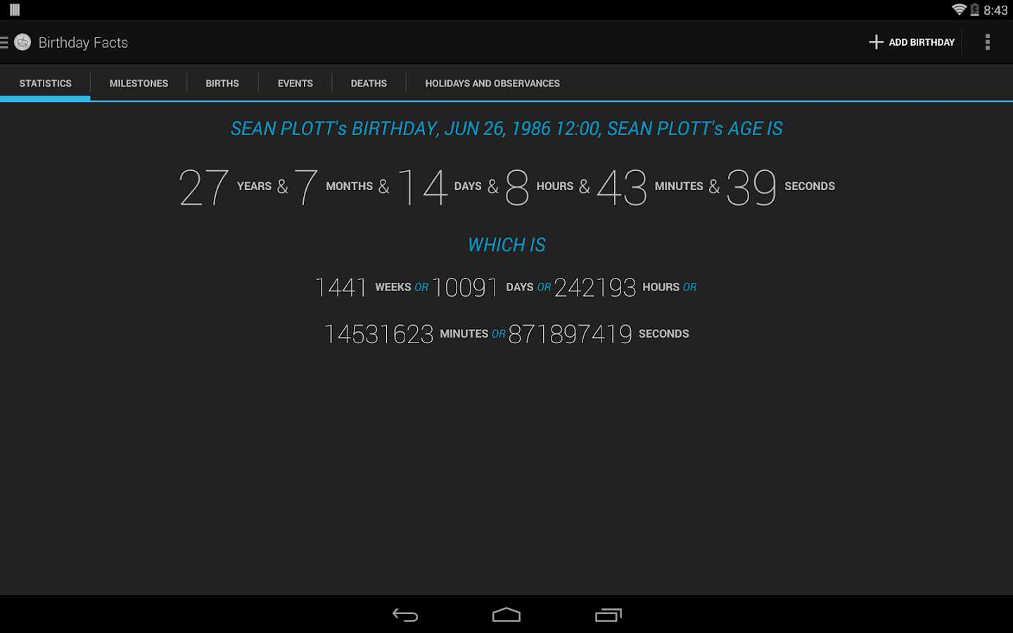 Age Calculator Birthday Facts - screenshot
