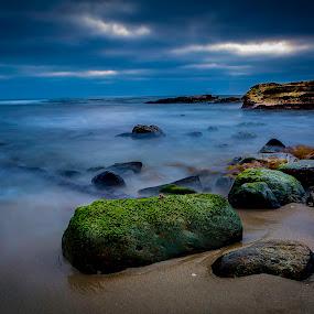 La Jolla Cove Landscape by Clifford Swall - Landscapes Beaches ( stormy beach, sand, san diego, la jolla cove, stormy sky, ocean, beach, rocks, mossy rocks )