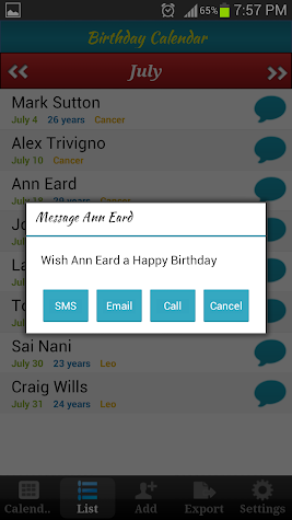 Birthday Calendar Screenshot