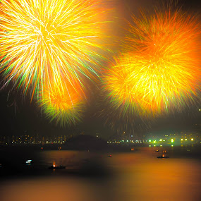 Yellow, Red and Green by Darrell Champlin - Public Holidays New Year's Eve