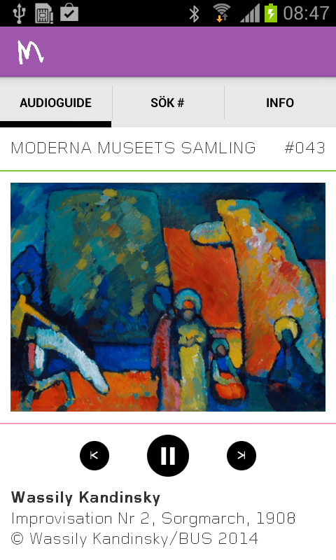 Moderna Museet audioguide- screenshot