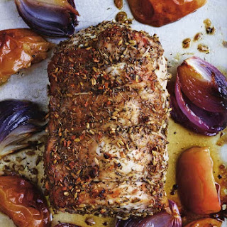 Roast Pork Loin with Apples and Onions.
