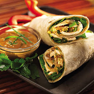 Thai Peanut Butter Chicken Wraps.