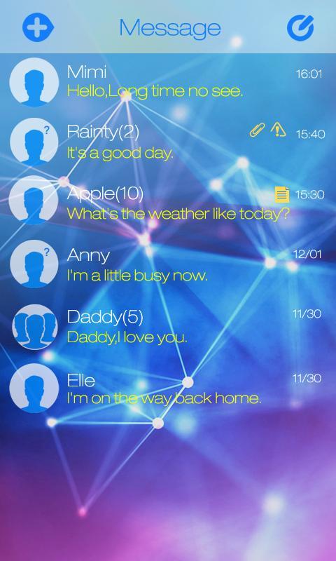 GO SMS PRO RESPLENDENT THEME- screenshot