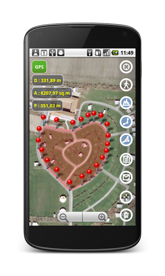 Planimeter - GPS area measure - screenshot