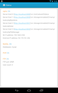 NAMP nginx android web server - screenshot thumbnail