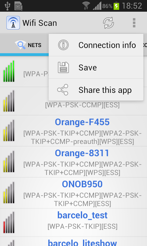 WIFI Scan - screenshot