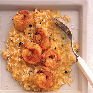 Fried Cornmeal Shrimp with Butternut Squash Risotto.