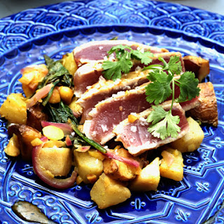 Maple-Glazed Tuna with Pear-Potato Salad