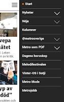 Screenshot of Metro Nyheter