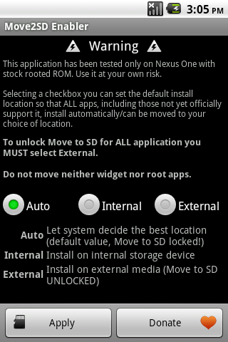 Move2SD Enabler (root only) - screenshot