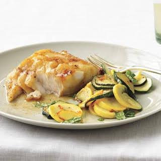 Soy-Glazed Fish With Sautéed Summer Squash.