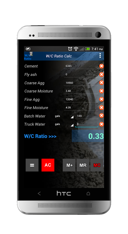 Water Cement Ratio Calculator- screenshot