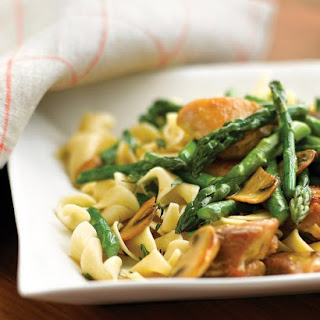 Sauteed Chicken with Asparagus and Mushrooms.