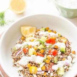 Roasted Chickpea Quinoa Greek Salad {Tzatziki Salad Dressing} – Guest Post!