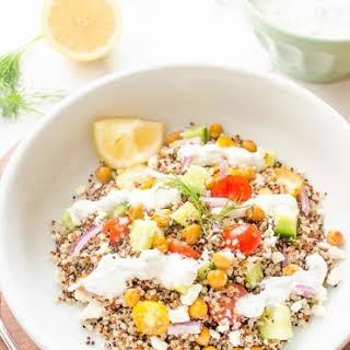 Roasted Chickpea Quinoa Greek Salad {Tzatziki Salad Dressing} – Guest Post!.