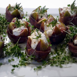 Stuffed Figs with Goat Cheese and Prosciutto.