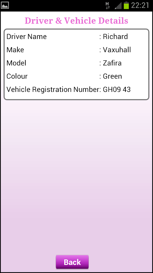 London Minicab App- screenshot