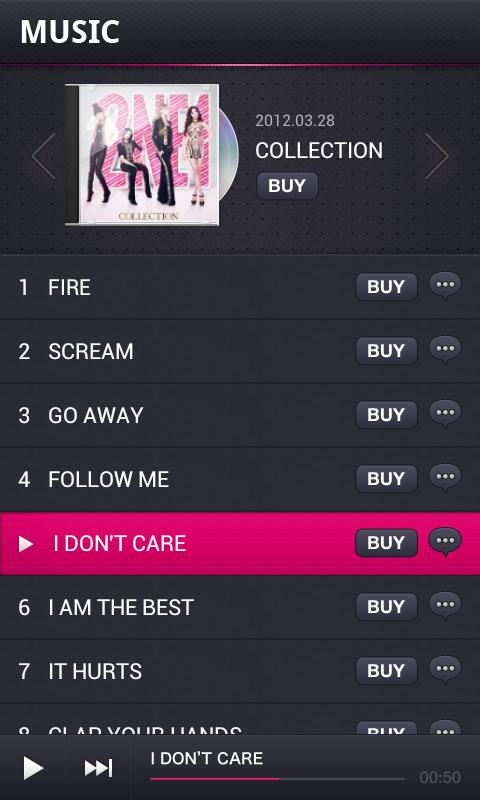 2NE1 App - screenshot