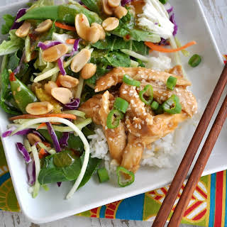 Healthy Slow Cooker Teriyaki Chicken with Ginger Bok Choy Salad.
