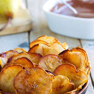 Slow Roasted Pear Chips with Chocolate Sauce