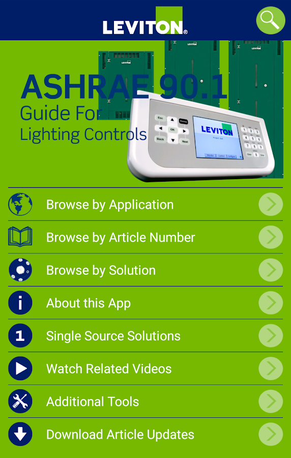 Leviton ASHRAE 90.1 App- screenshot
