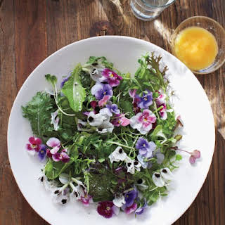 Green Salad with Edible Flowers.