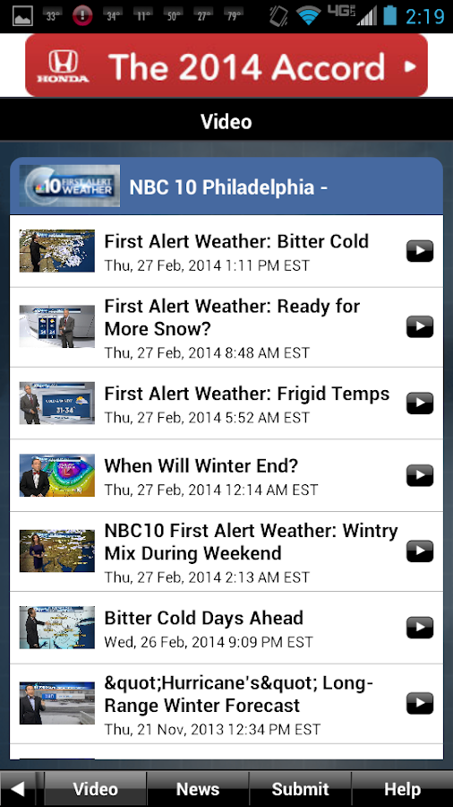Philadelphia Weather - screenshot