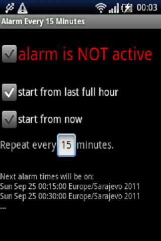 Alarm every 15 minutes- screenshot