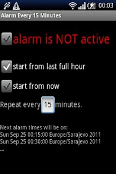 alarm every 15 minutes androidアプリ applion