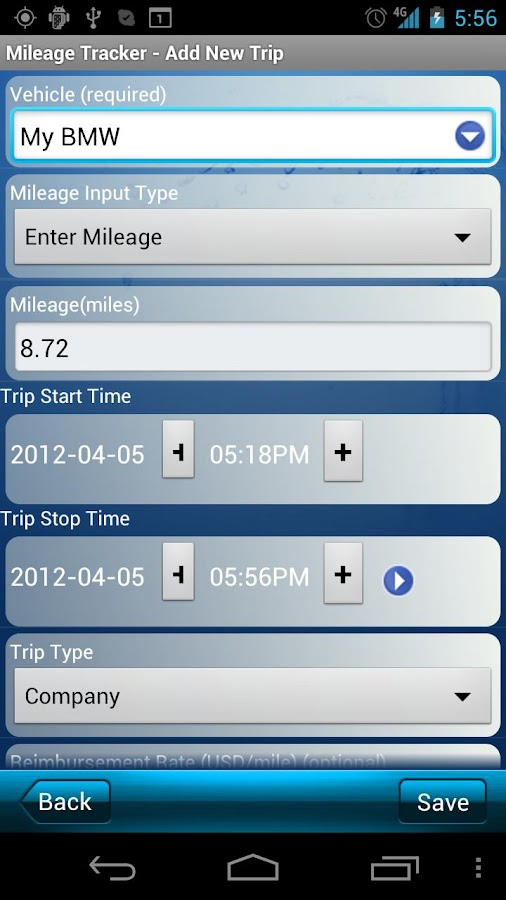 Mileage Tracker - screenshot