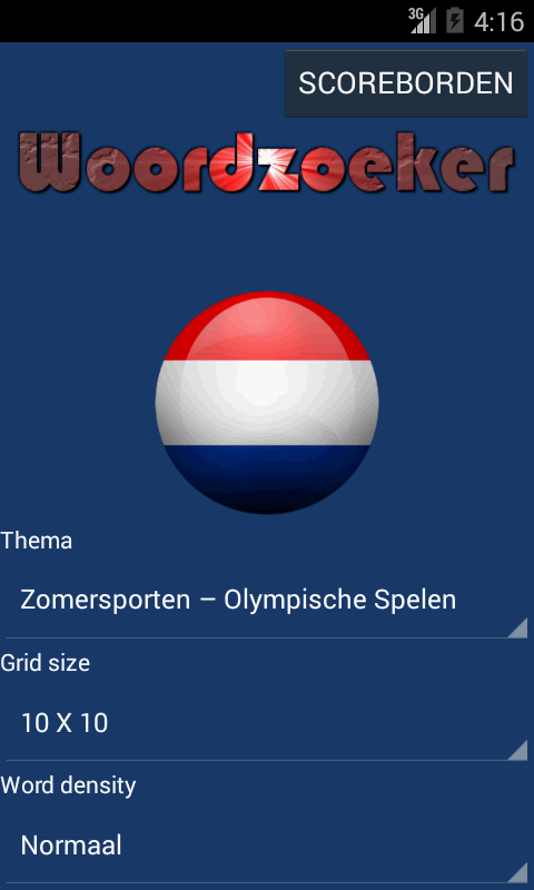 Woordzoeker nederlands- screenshot