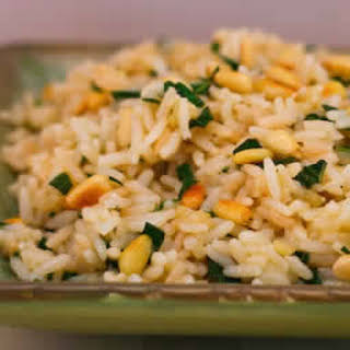 Basil and Parmesan Rice with Pine Nuts.