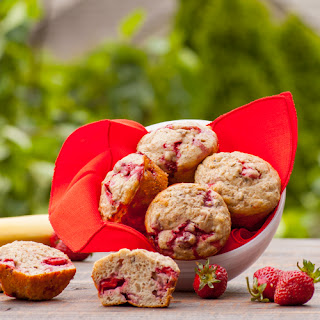 Whole Wheat Strawberry Banana Protein Muffins.