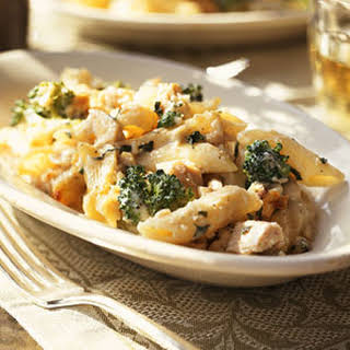 Chicken-and-Pasta Bake with Basil.