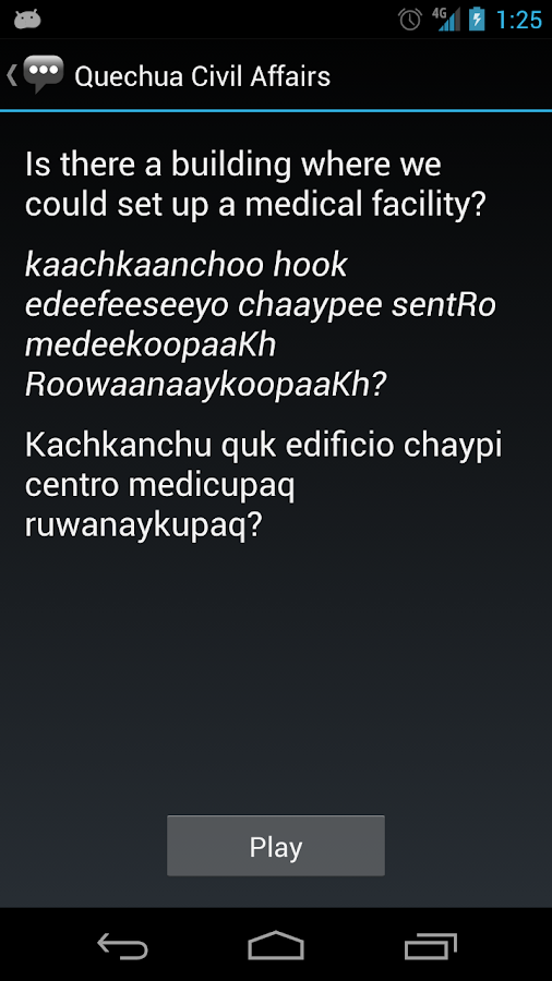 Quechua Civil Affairs Phrases - screenshot