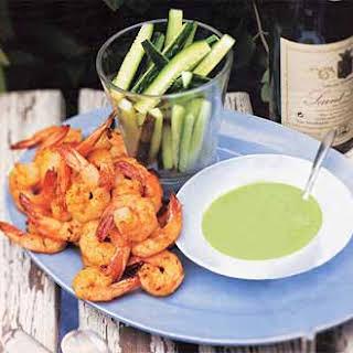 Curried Shrimp with Cucumber Vinaigrette.