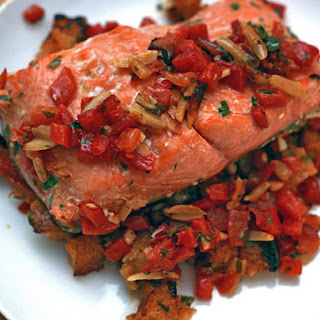 Salmon with Deconstructed Romesco Sauce