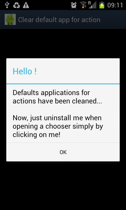 Clear default app for action- screenshot
