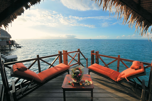 Moana_Bora_Bora_deck - Wanna get away? Contemplate the good life when the Paul Gauguin takes you to its resort partner, the InterContinental Hotel Le Moana Bora Bora.