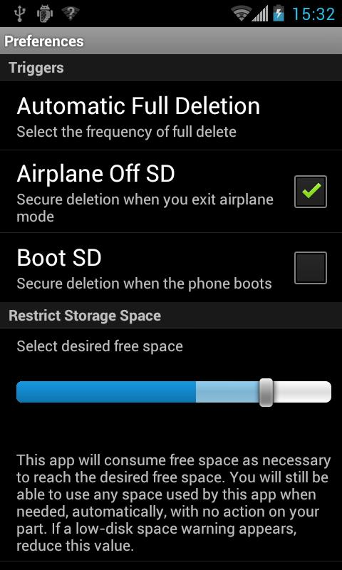 Secure Deletion for Android - screenshot
