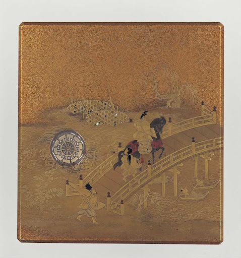 Writing Box with a Man Crossing Ujibashi Bridge from the Tale of Genji, Lacquer with Maki-e(Sprinkled Gold)