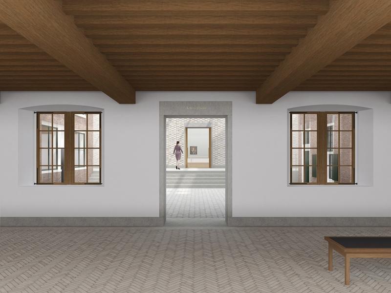 Impressie Entreehal met doorkijk naar 'Achterplaats' (binnenhof)