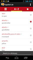 Screenshot of Spanish words with audio Lite