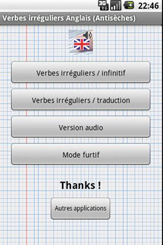 Verbes Irréguliers Anglais - screenshot