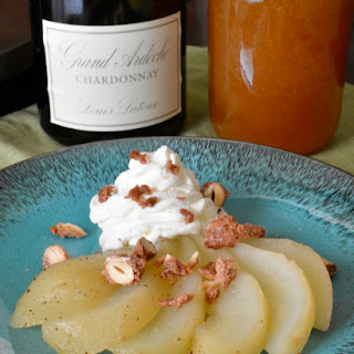 Honey Poached Pears with Amaretto Whipped Cream and Candied Almonds Recipe