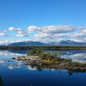 Forsholmen by Erika Lorde - Landscapes Waterscapes ( calm, clearblue, mountains, seasons, colors, mountain lake, fall, view )